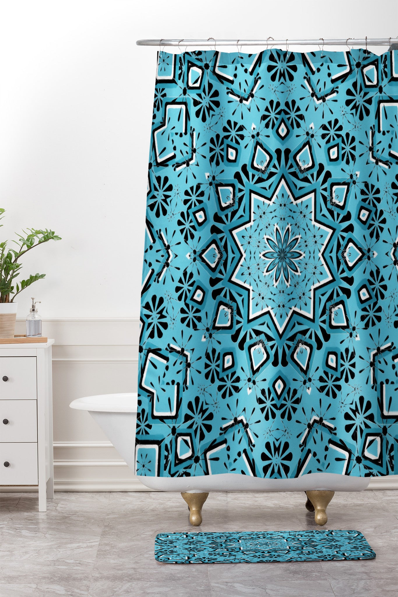 Lisa Argyropoulos Retroscopic In Blue Jazz Shower Curtain And Mat ...