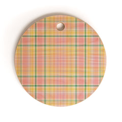 Lisa Argyropoulos Spring Days Plaid Cutting Board Round