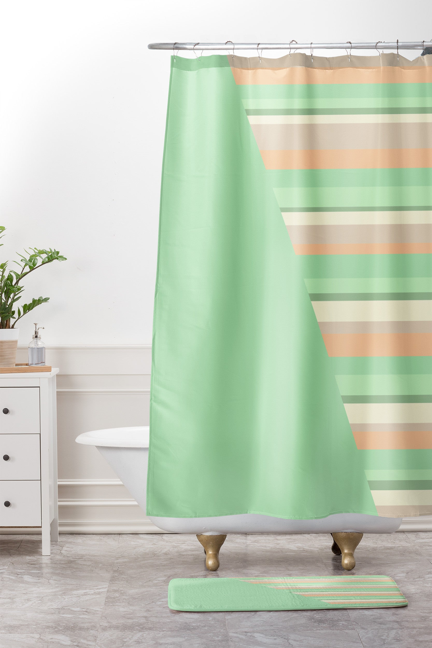 Striped Desert Sage. Shower Curtain And Mat. By Lisa Argyropoulos