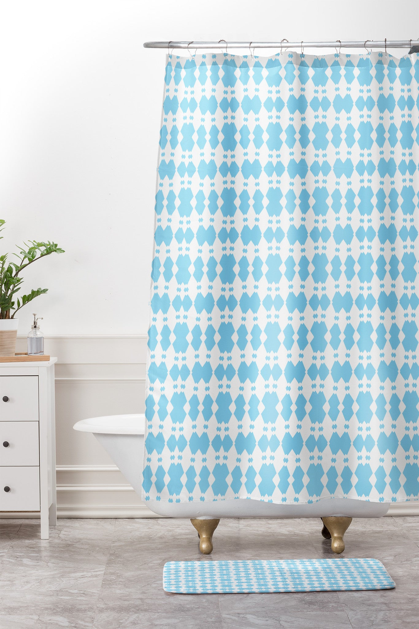 Lisa Argyropoulos White Sapphires Aqua Shower Curtain And Mat