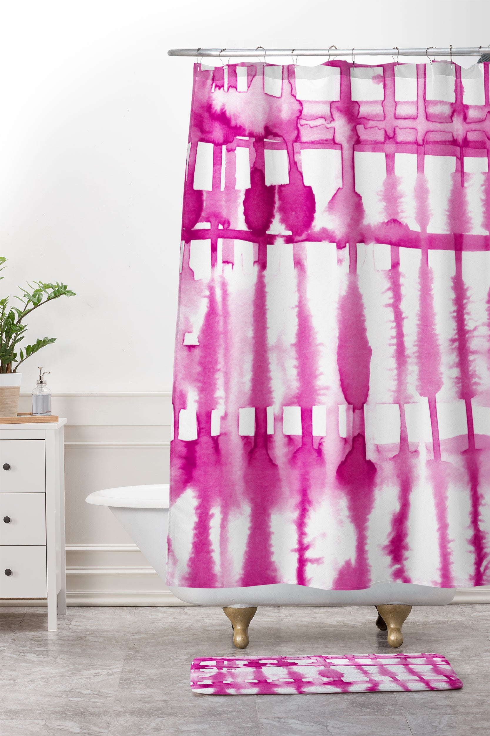 Lisa Argyropoulos Wild Magenta Shower Curtain And Mat