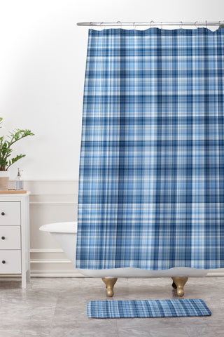 Lisa Argyropoulos Winter Blue Plaid Shower Curtain And Mat