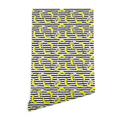 Little Arrow Design Co Bananas on Stripes Wallpaper