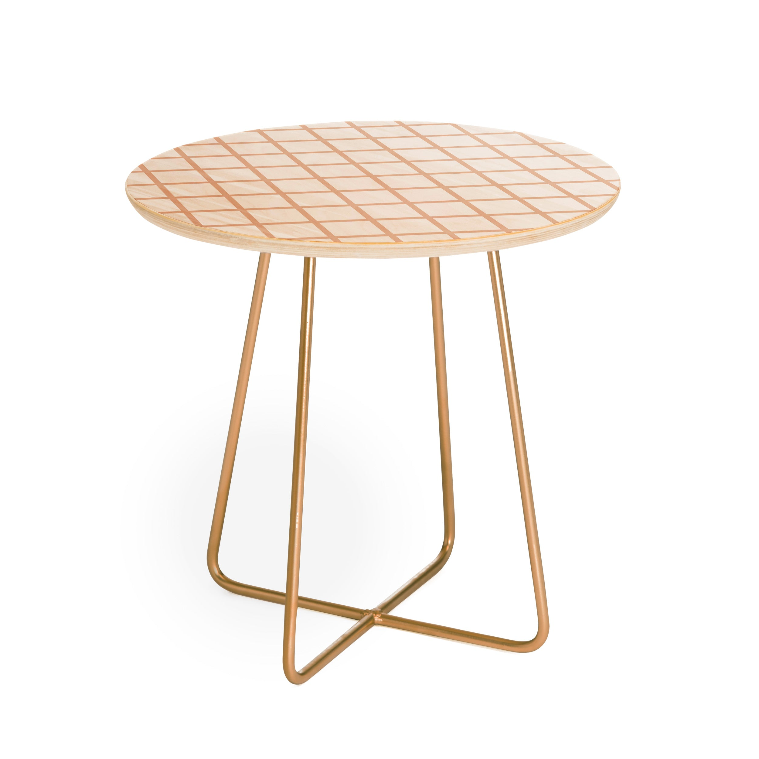 Little Arrow Design Co blush grid Round Side Table