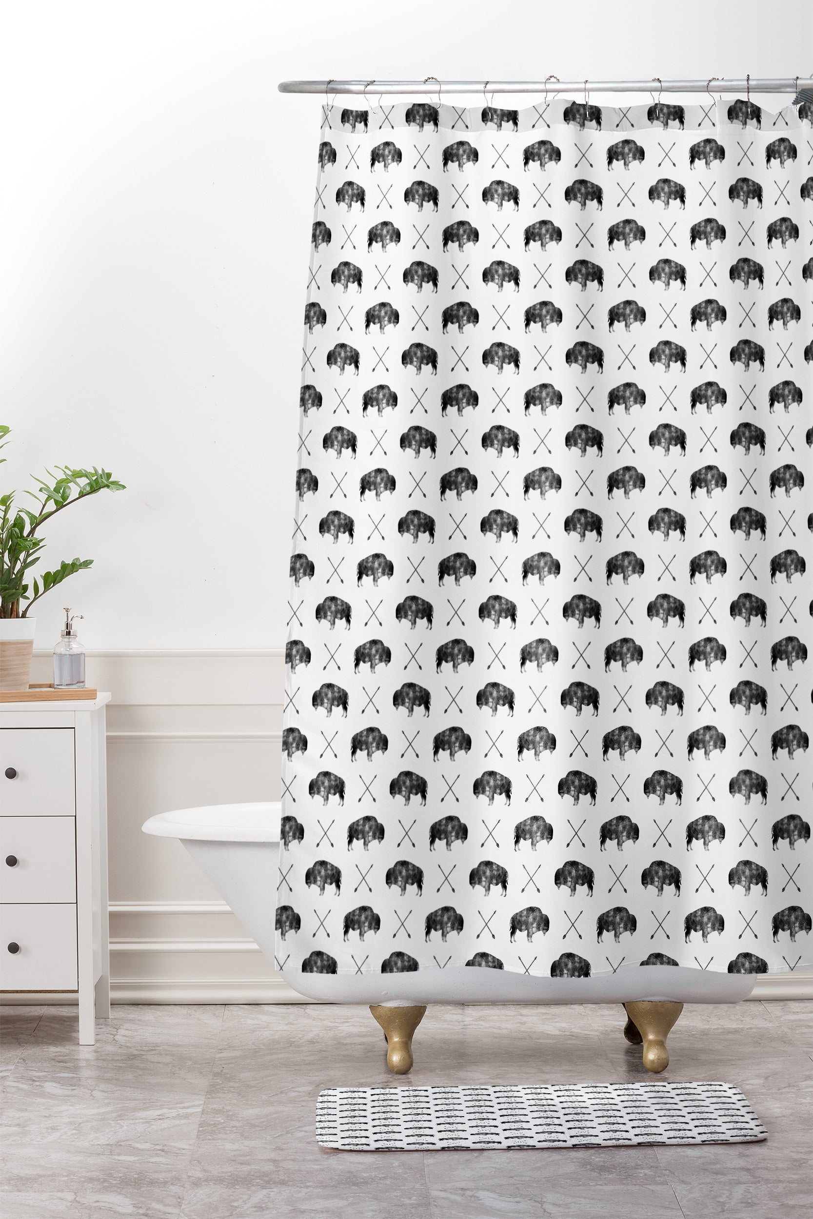 Little Arrow Design Co GREAT BUFFALO 1 Shower Curtain And Mat