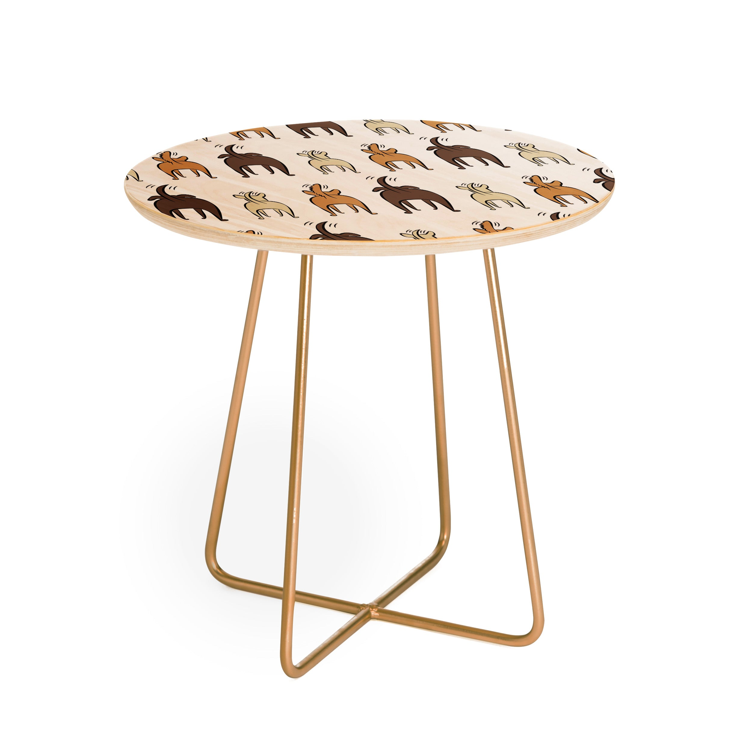 Little Arrow Design Co Happy Dogs Round Side Table