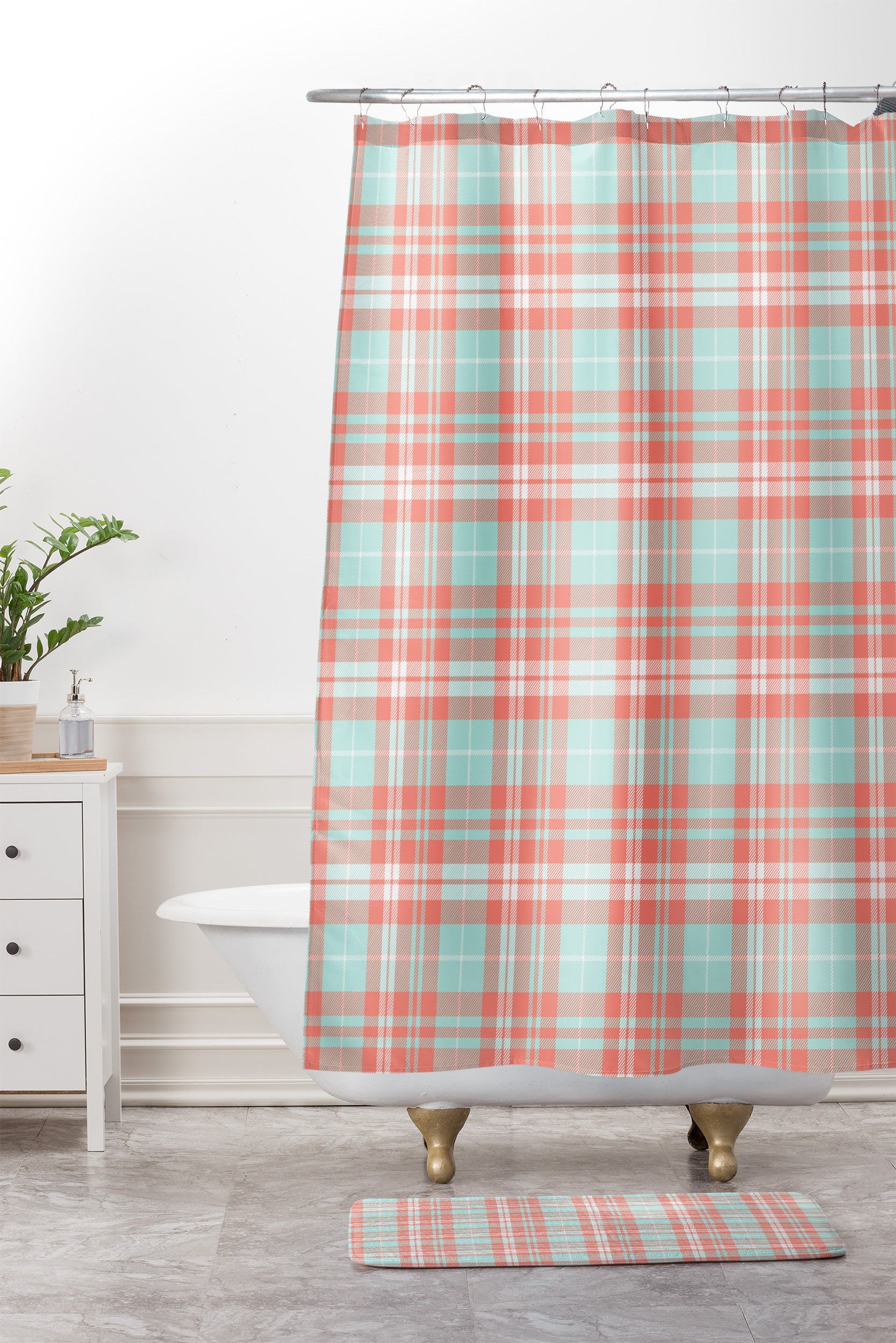 Little Arrow Design Co Plaid In Coral And Blue Shower Curtain Mat