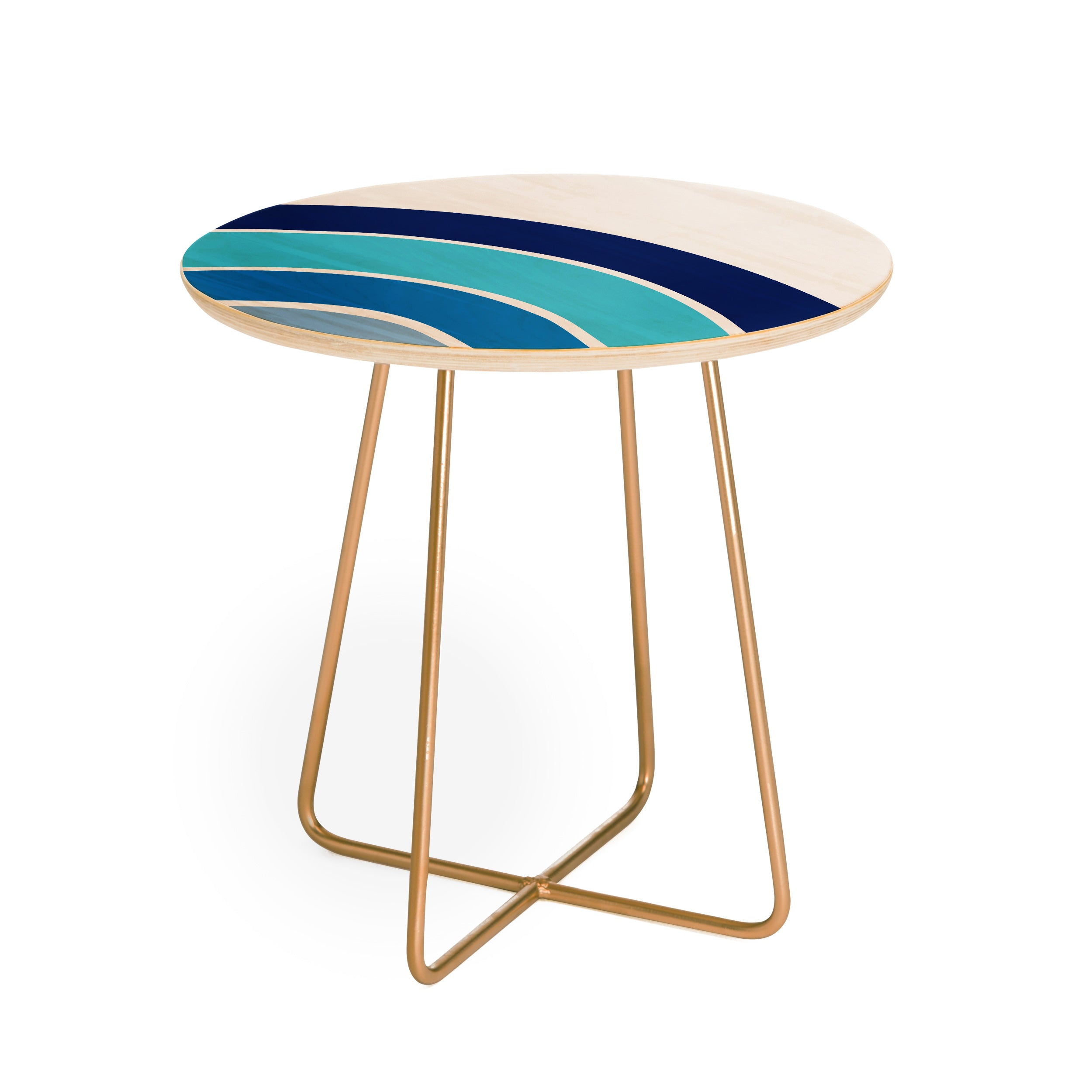 Little Arrow Design Co rainbow in blue Round Side Table