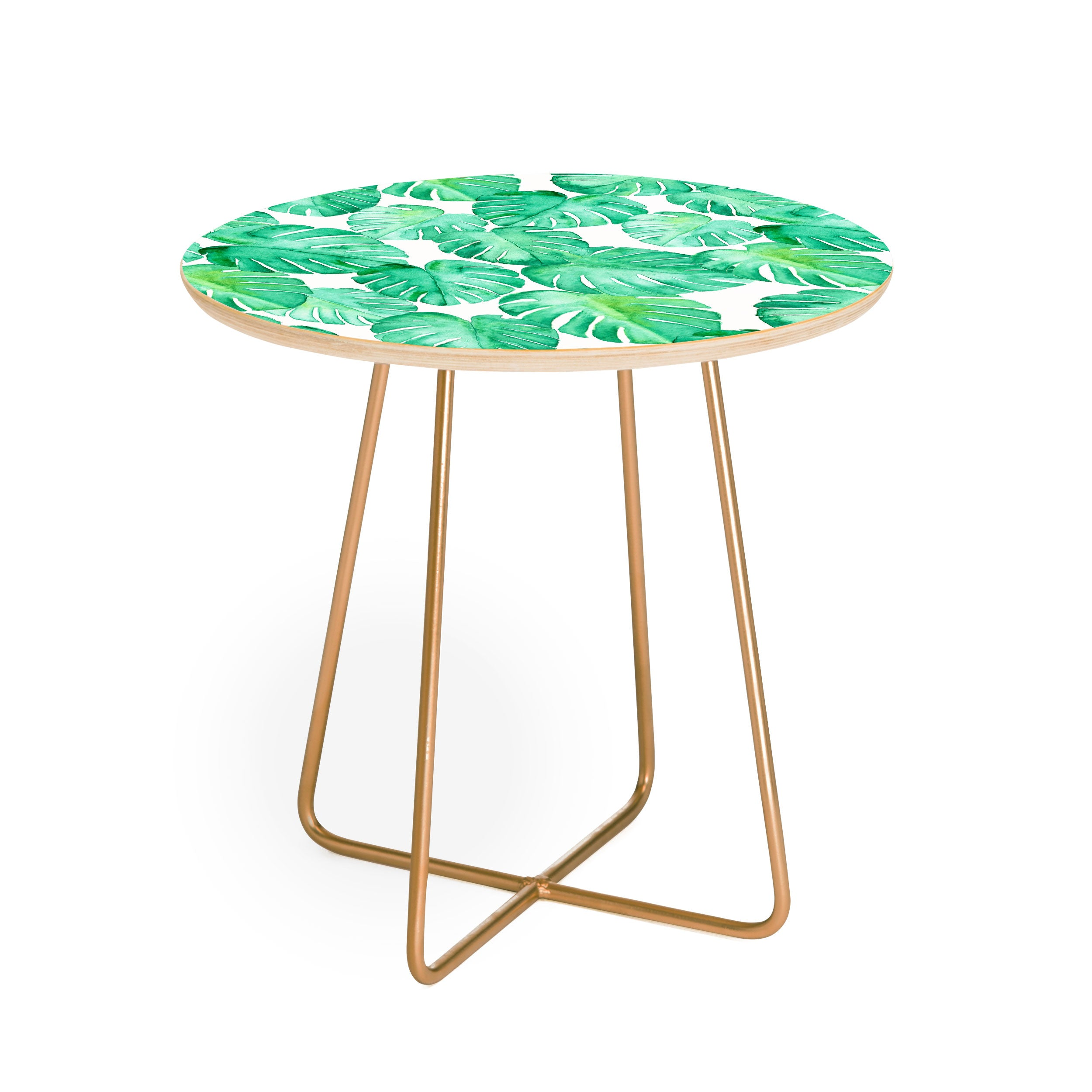 Little Arrow Design Co tropical watercolor monstera Round Side Table