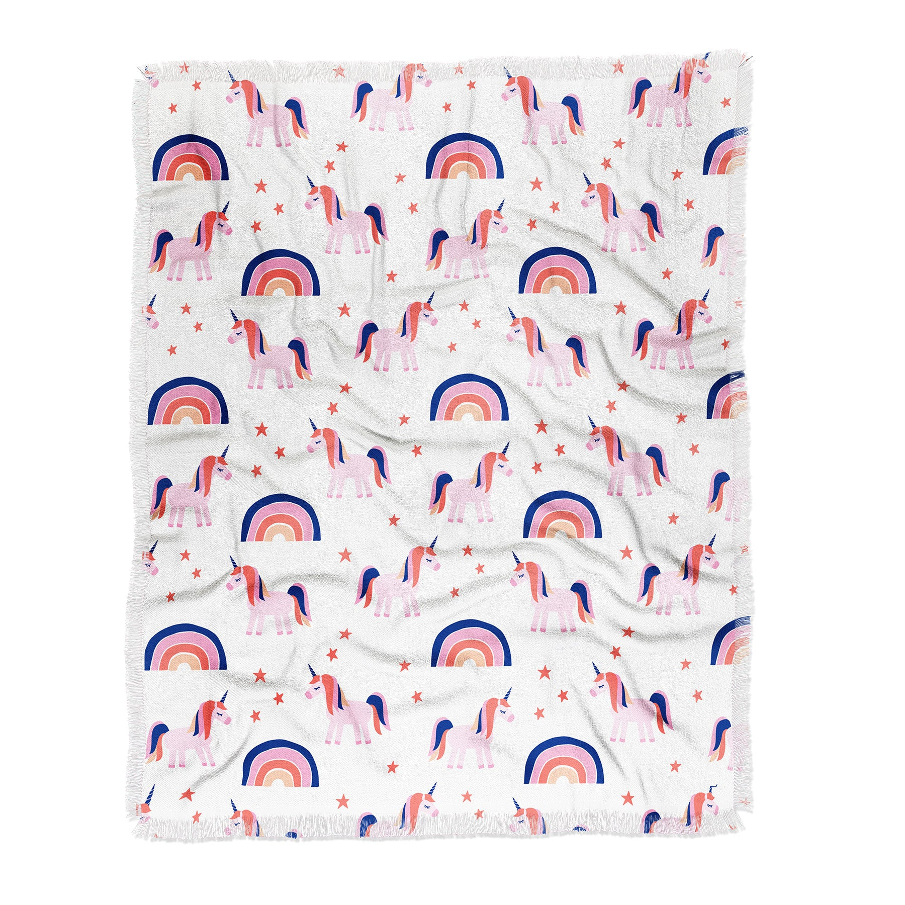 Little Arrow Design Co unicorn dreams in pink and blue Throw Blanket
