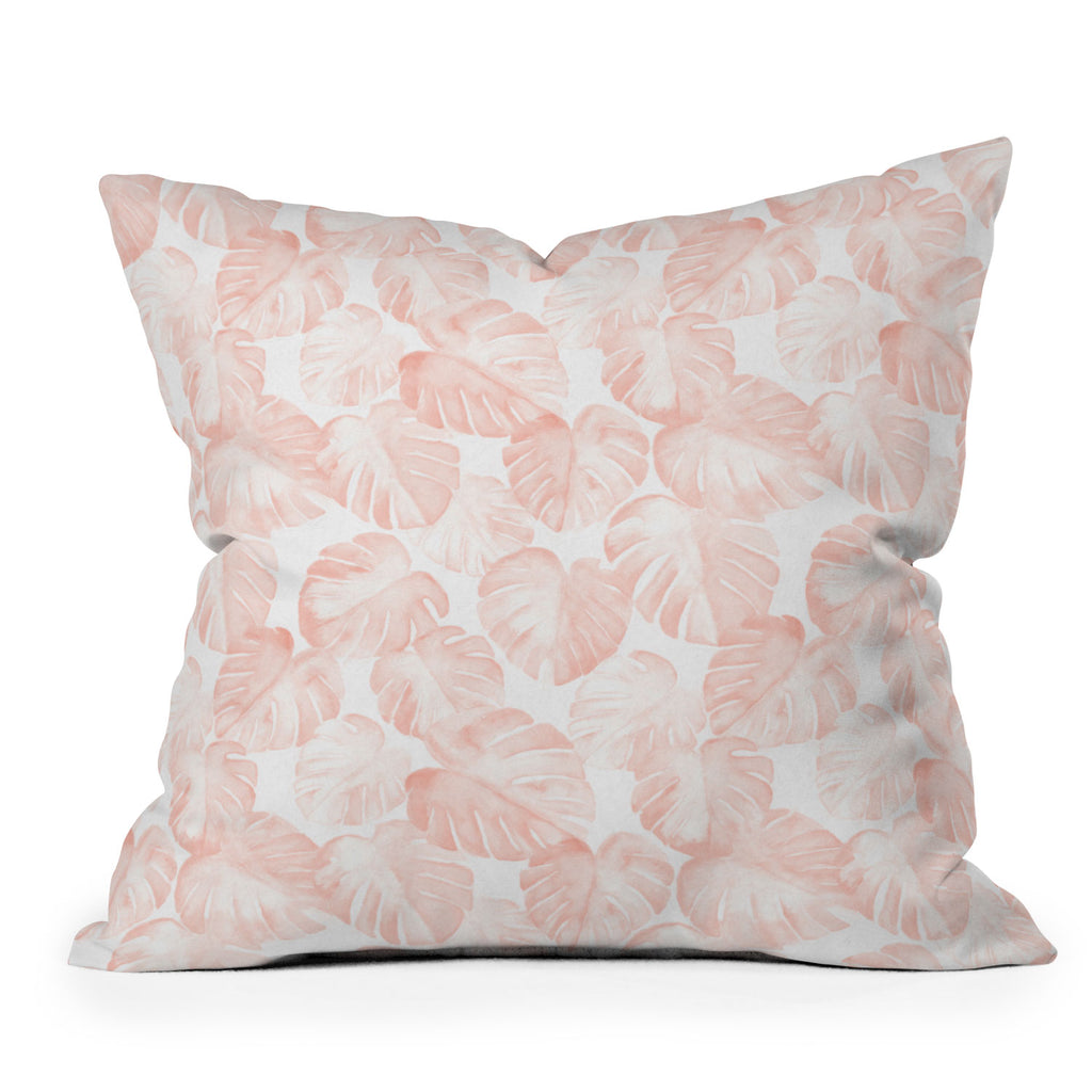 Watercolor Monstera In Dusty Pink Throw Pillow Little Arrow Design Co