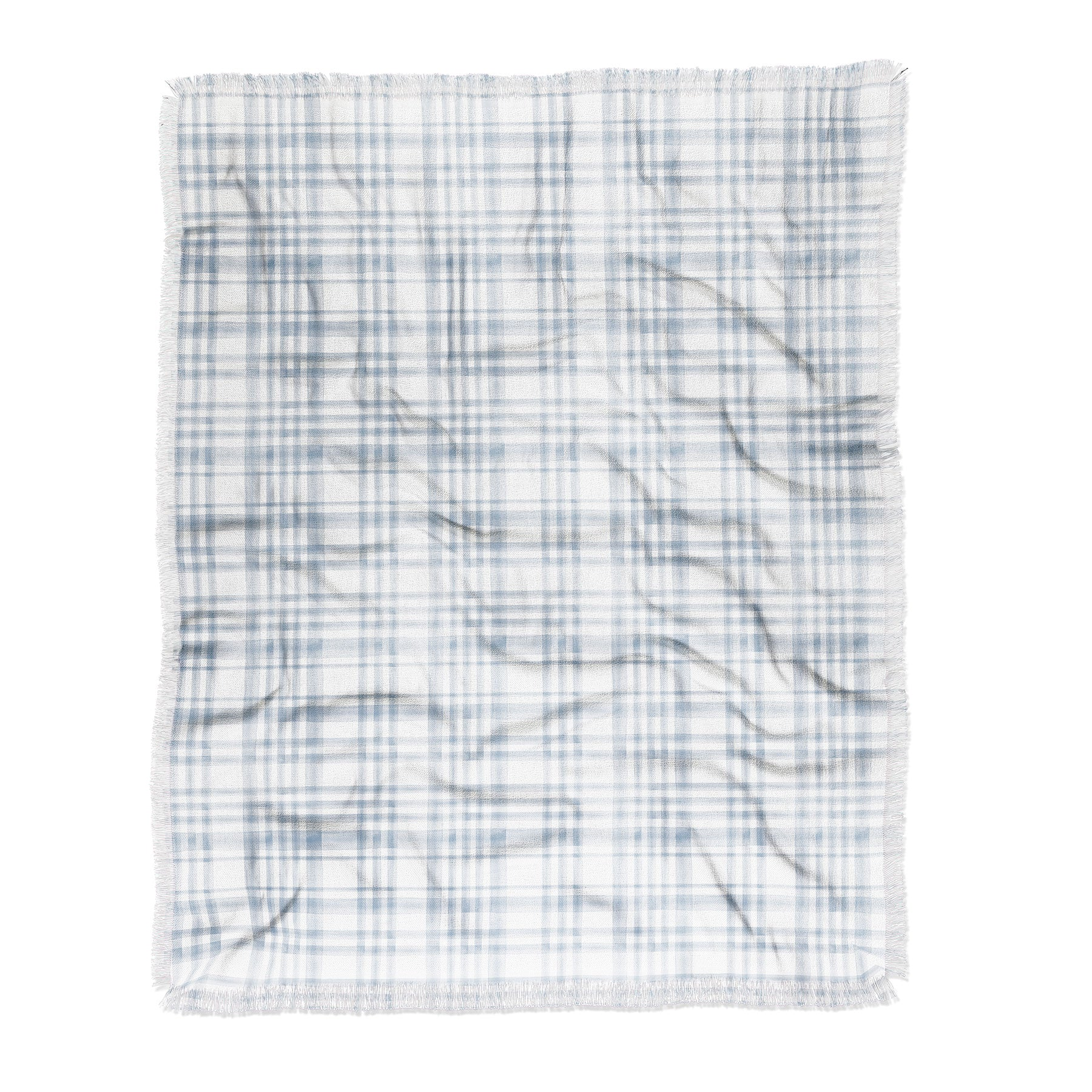 Little Arrow Design Co Winter Watercolor Plaid Blue Throw Blanket