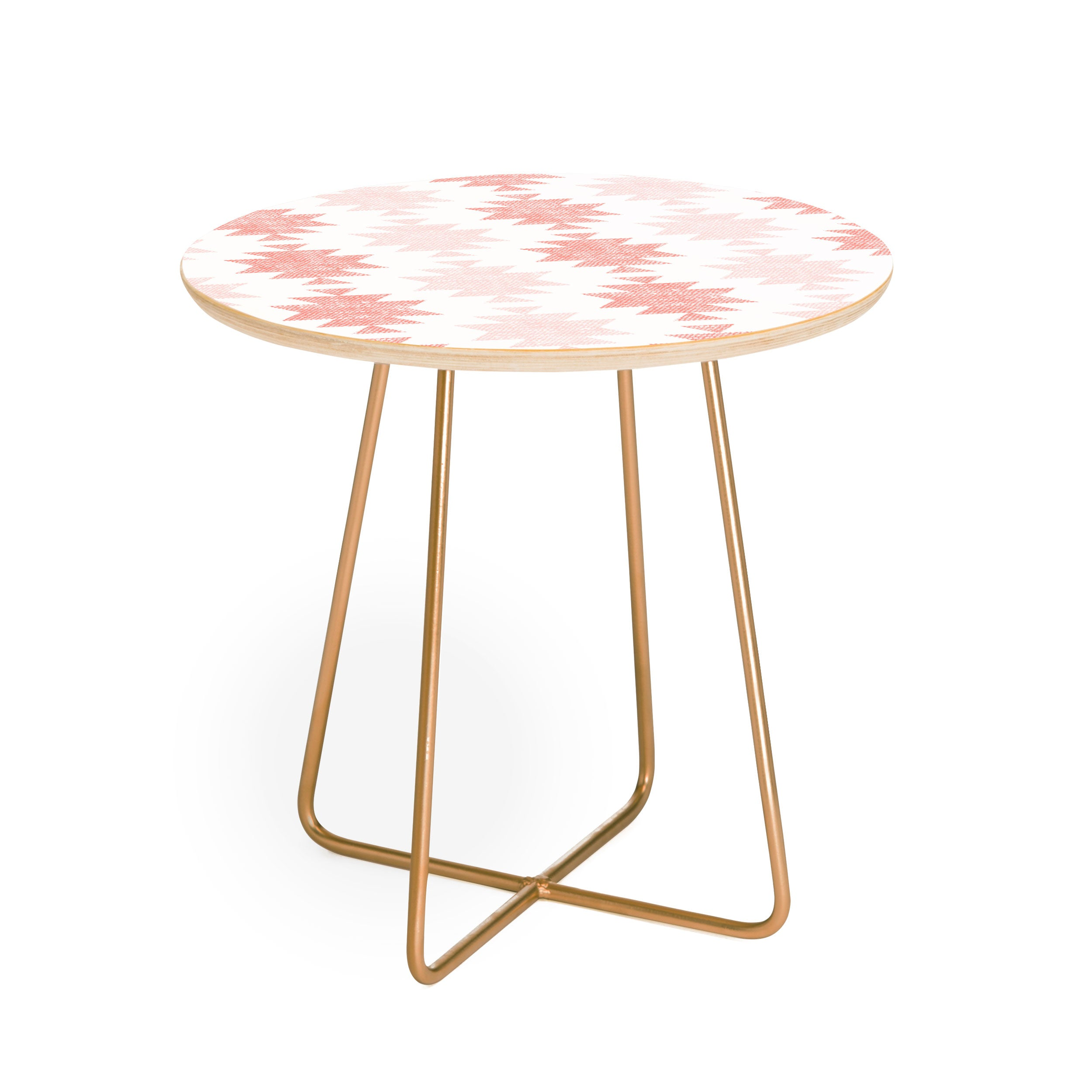 Little Arrow Design Co Woven Aztec in Coral Round Side Table