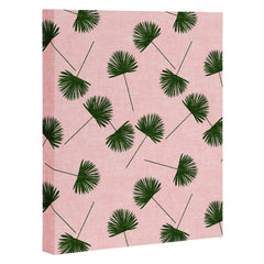Little Arrow Design Co Woven Fan Palm Green on Pink Art Canvas