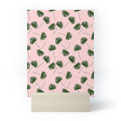 Little Arrow Design Co Woven Fan Palm Green on Pink Mini Art Print