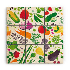 Lucie Rice EAT YOUR FRUITS AND VEGGIES Wood Wall Mural