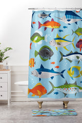 Lucie Rice Fish Frenzy Shower Curtain And Mat