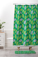 Lucie Rice Leafy Greens Shower Curtain And Mat