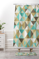 Lucie Rice Sand and Sea Geometry Shower Curtain And Mat