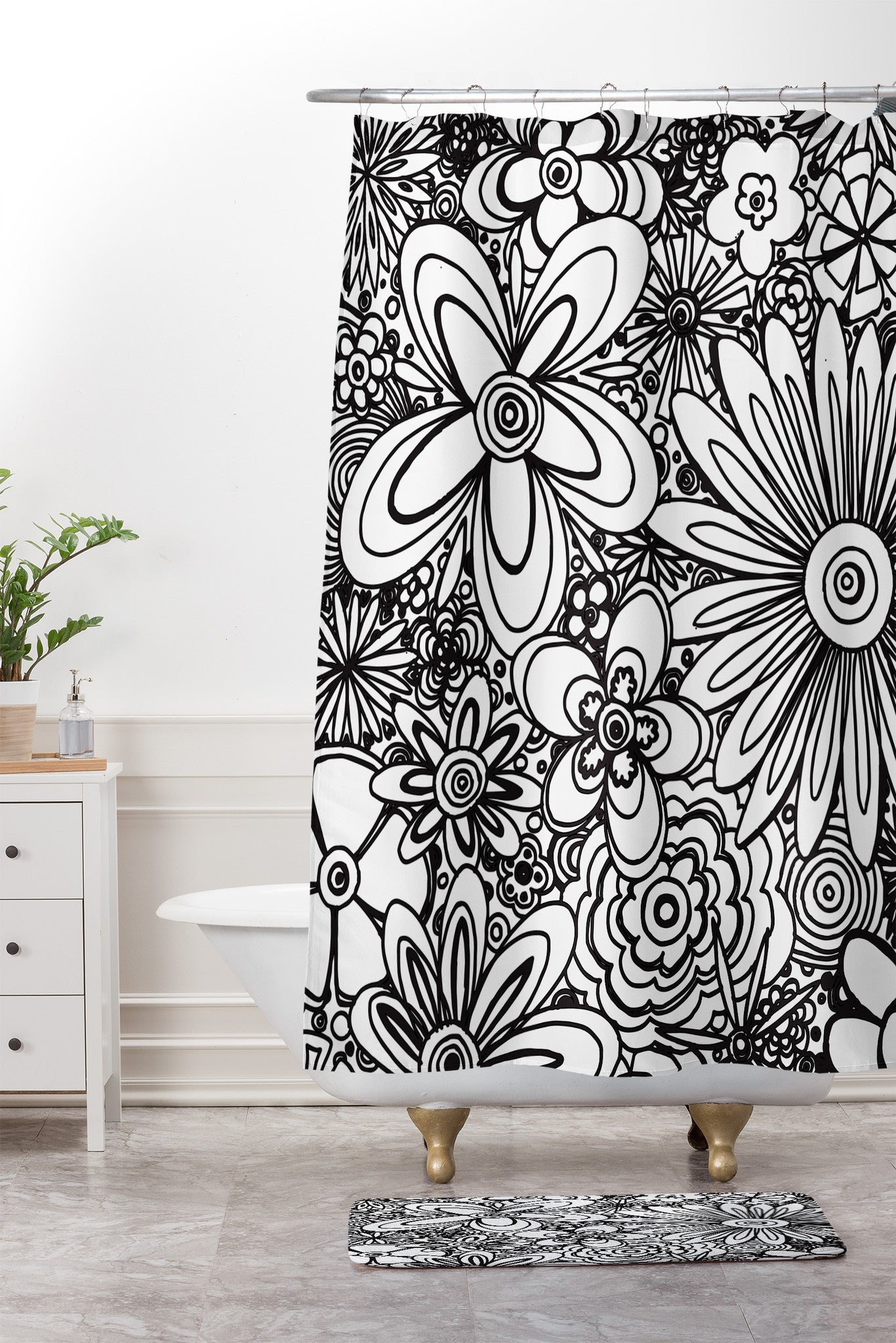 All Over Flowers Black White Shower Curtain And Mat Madart Inc