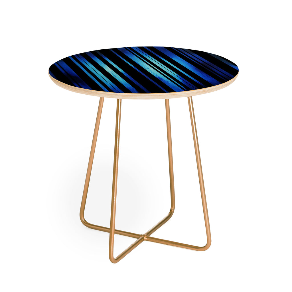 Black stripes blue passion round side table madart inc for Table passion