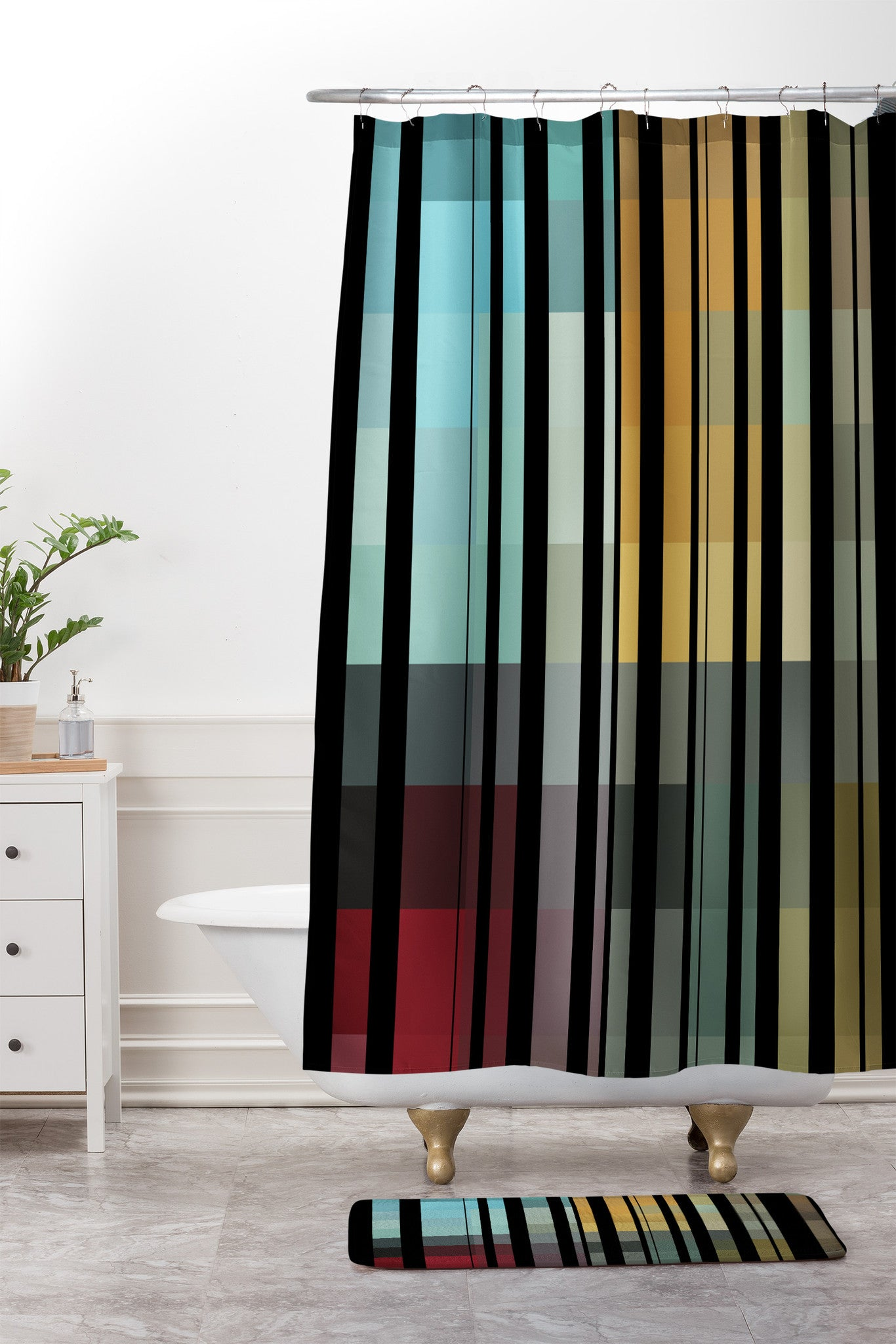 Madart Inc Black Stripes In The Maze 2 Shower Curtain And Mat
