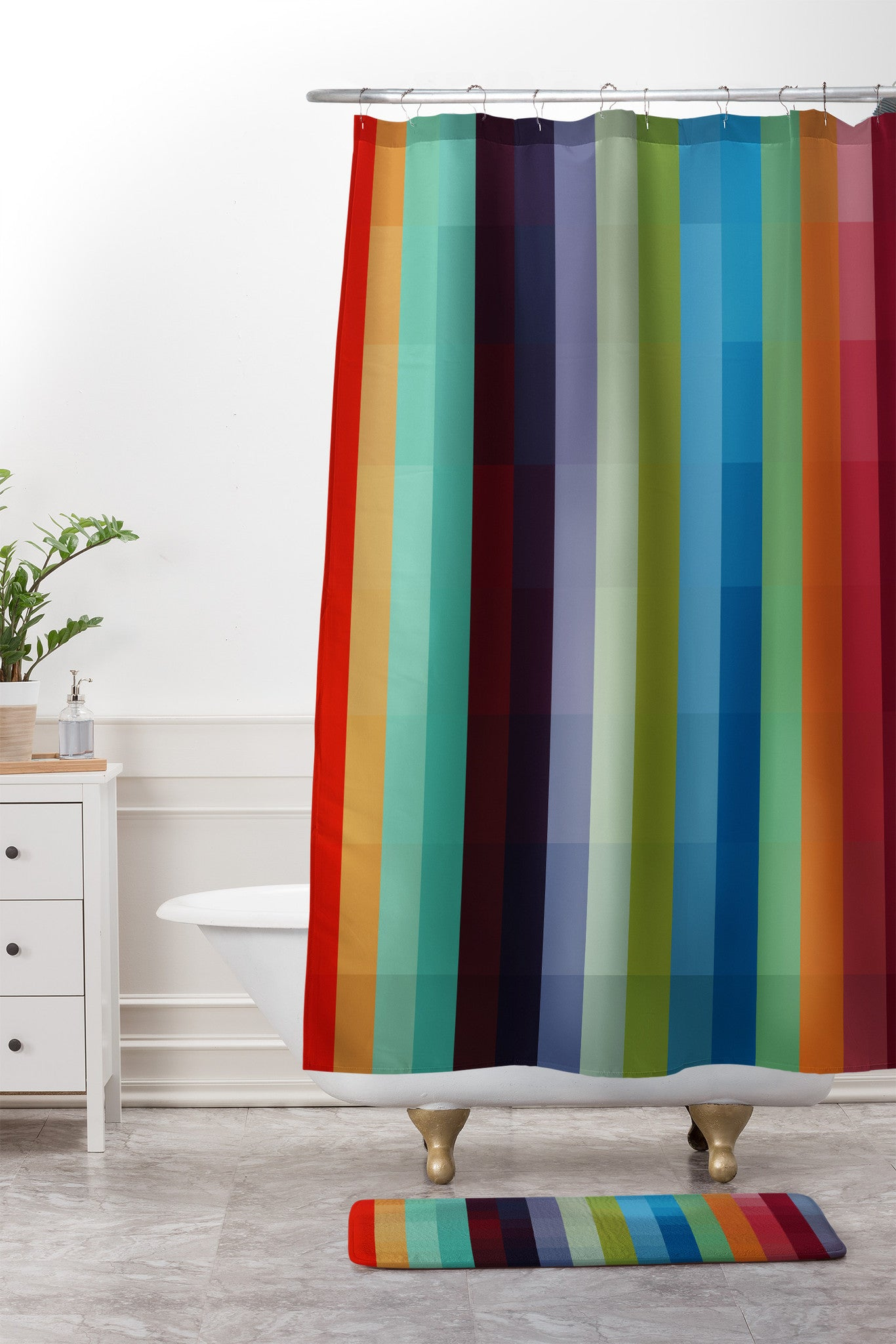 city colors shower curtain and mat madart inc - Colorful Shower Curtains