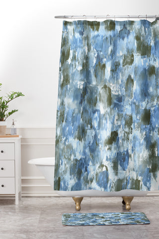 Madart Inc Denim Mosaic Shower Curtain And Mat