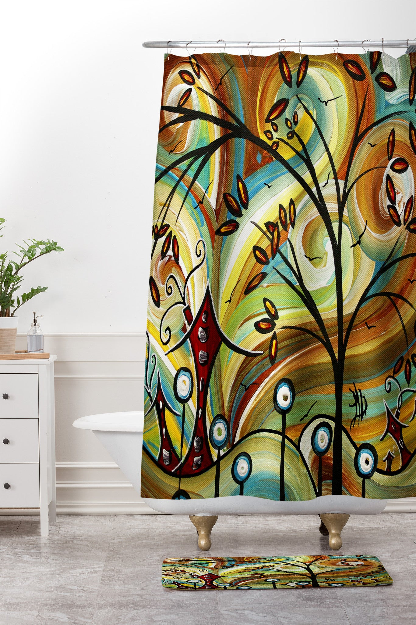 Fall Colors Shower Curtain And Mat By Madart Inc