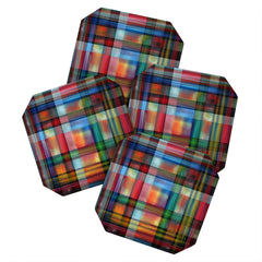 Madart Inc. Multi Abstracts Plaid Coaster Set