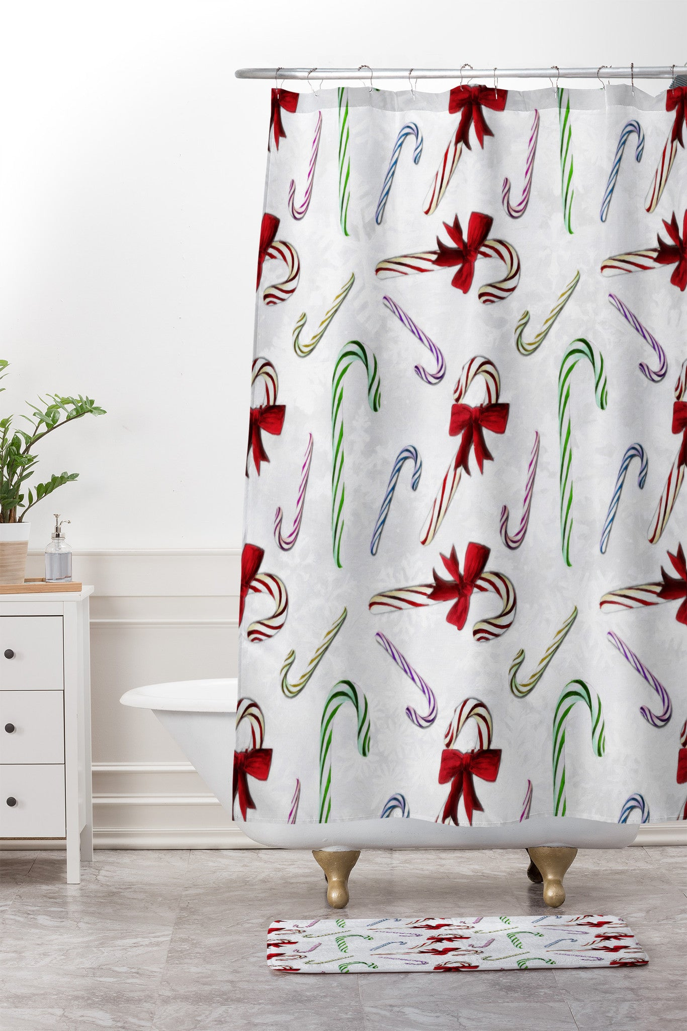 Madart Inc Multi Candy Canes Shower Curtain And Mat