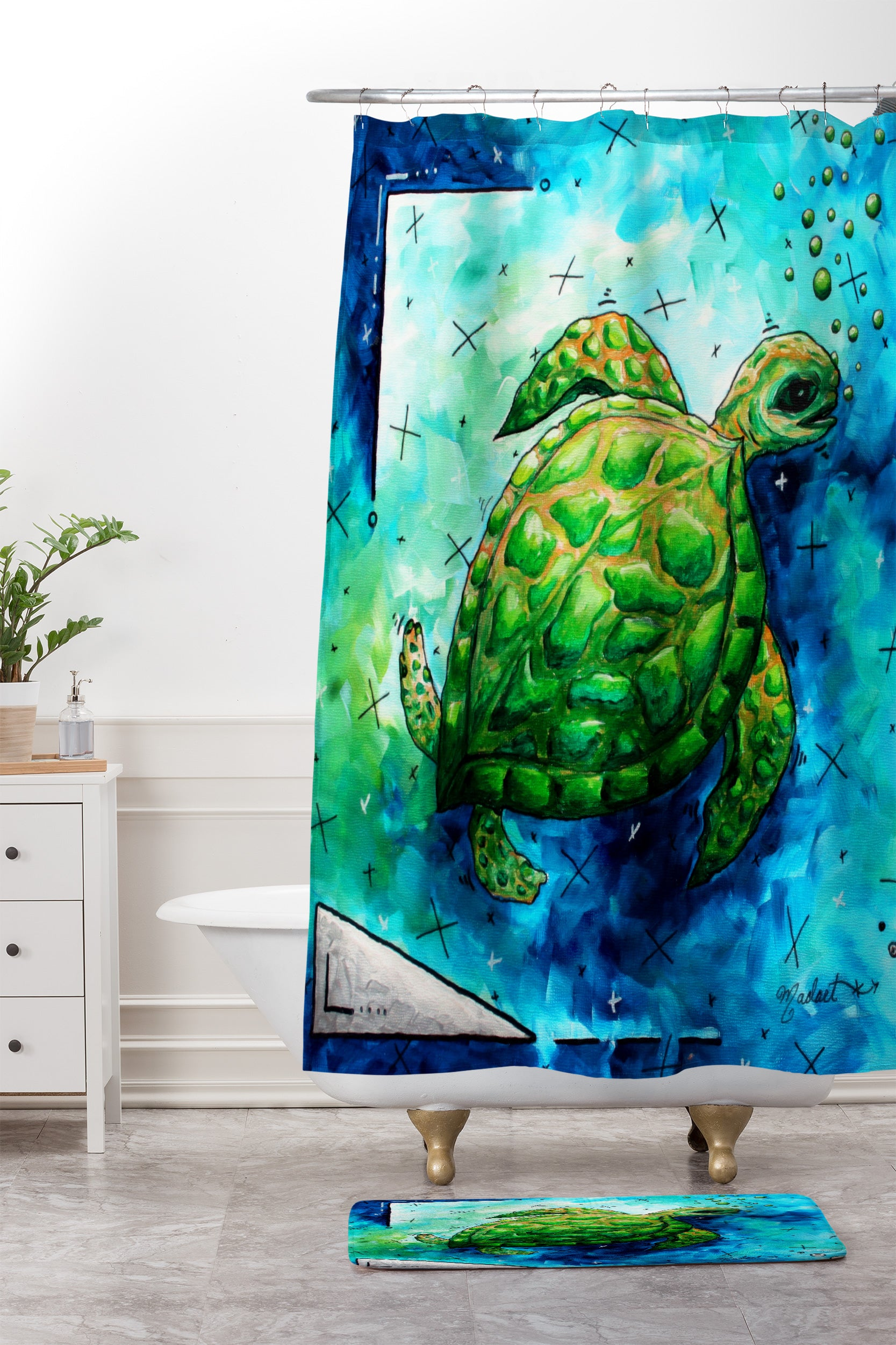 Sea Of Whimsy Turtle Shower Curtain And Mat By Madart Inc