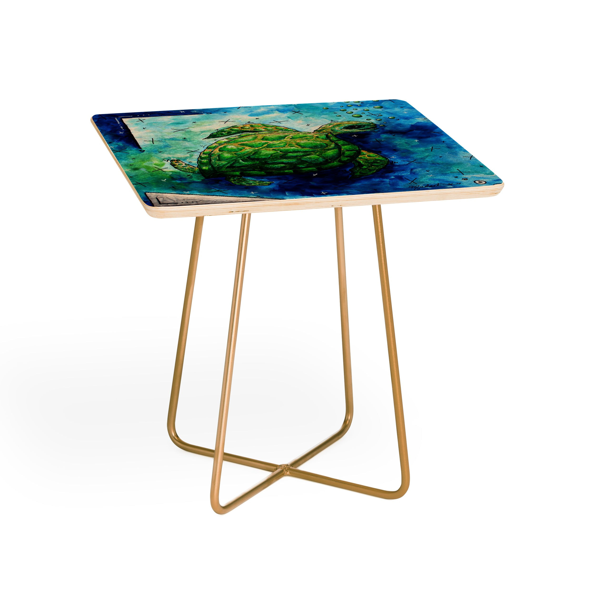 Madart Inc. Sea Of Whimsy Sea Turtle Side Table