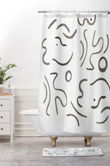 Megan Galante Stroke Abstract Shower Curtain And Mat