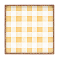 Monika Strigel FARMHOUSE SHABBY GINGHAM ORANGE CHECKERED PLAID Square Tray