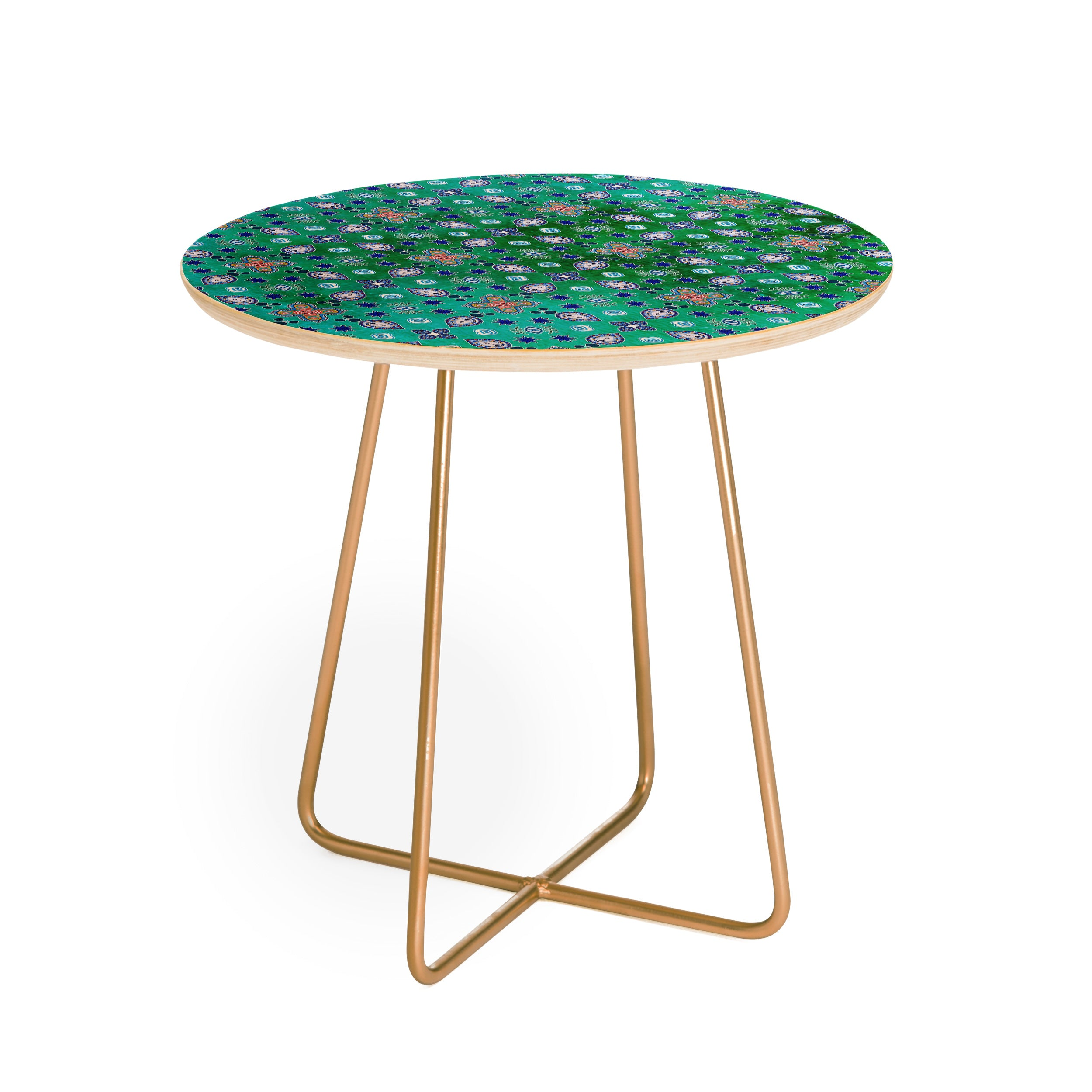 Moroccan Pearls And Tiles Green Round Side Table Monika Strigel - Moroccan outdoor coffee table