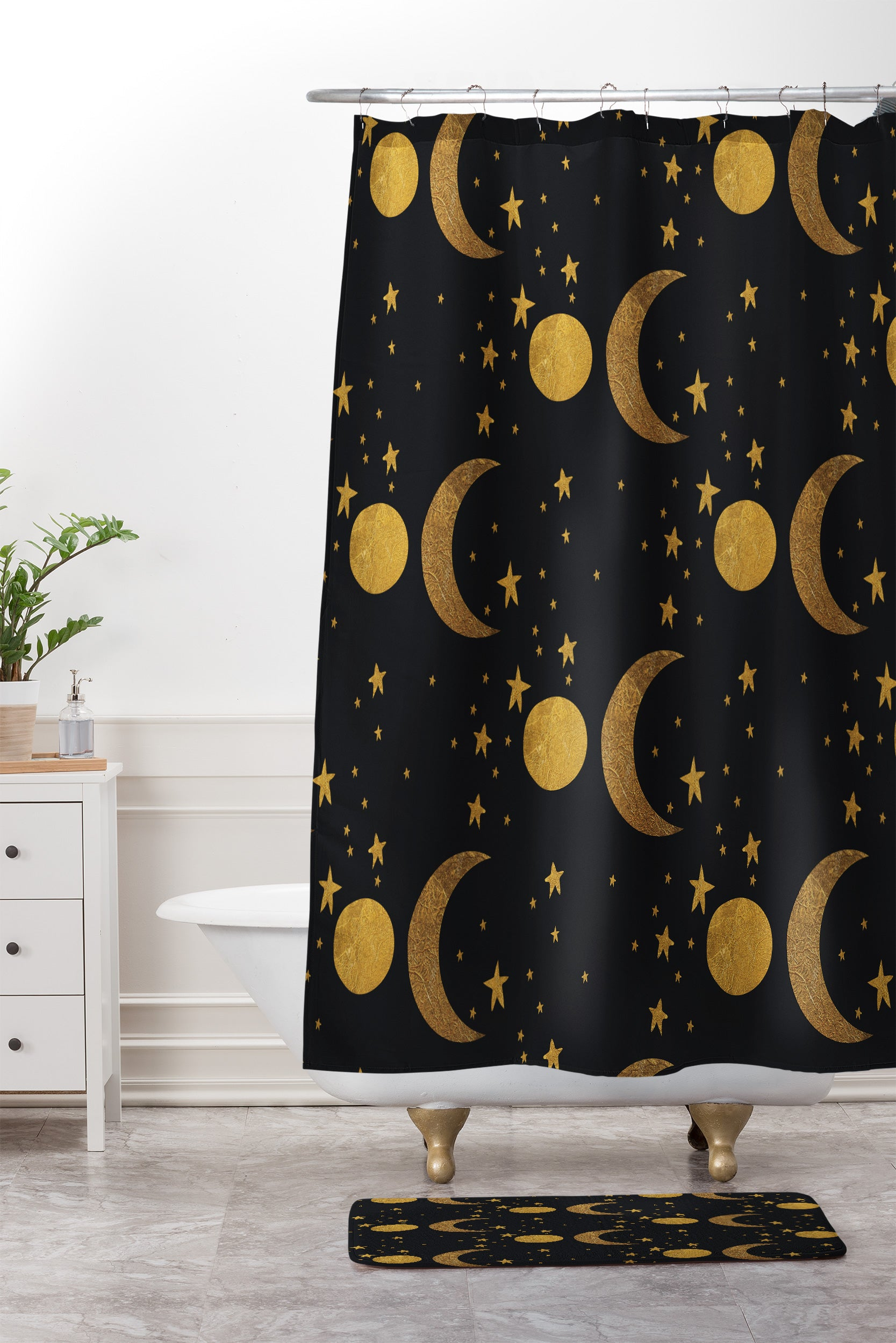 Morgan Kendall my moon and stars Shower Curtain And Mat