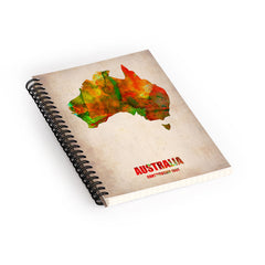 Naxart Australia Watercolor Map Spiral Notebook