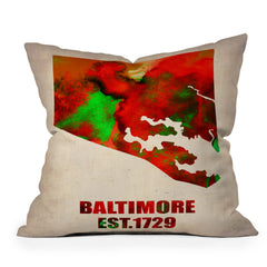 Naxart Baltimore Watercolor Map Throw Pillow