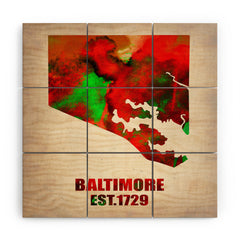 Naxart Baltimore Watercolor Map Wood Wall Mural