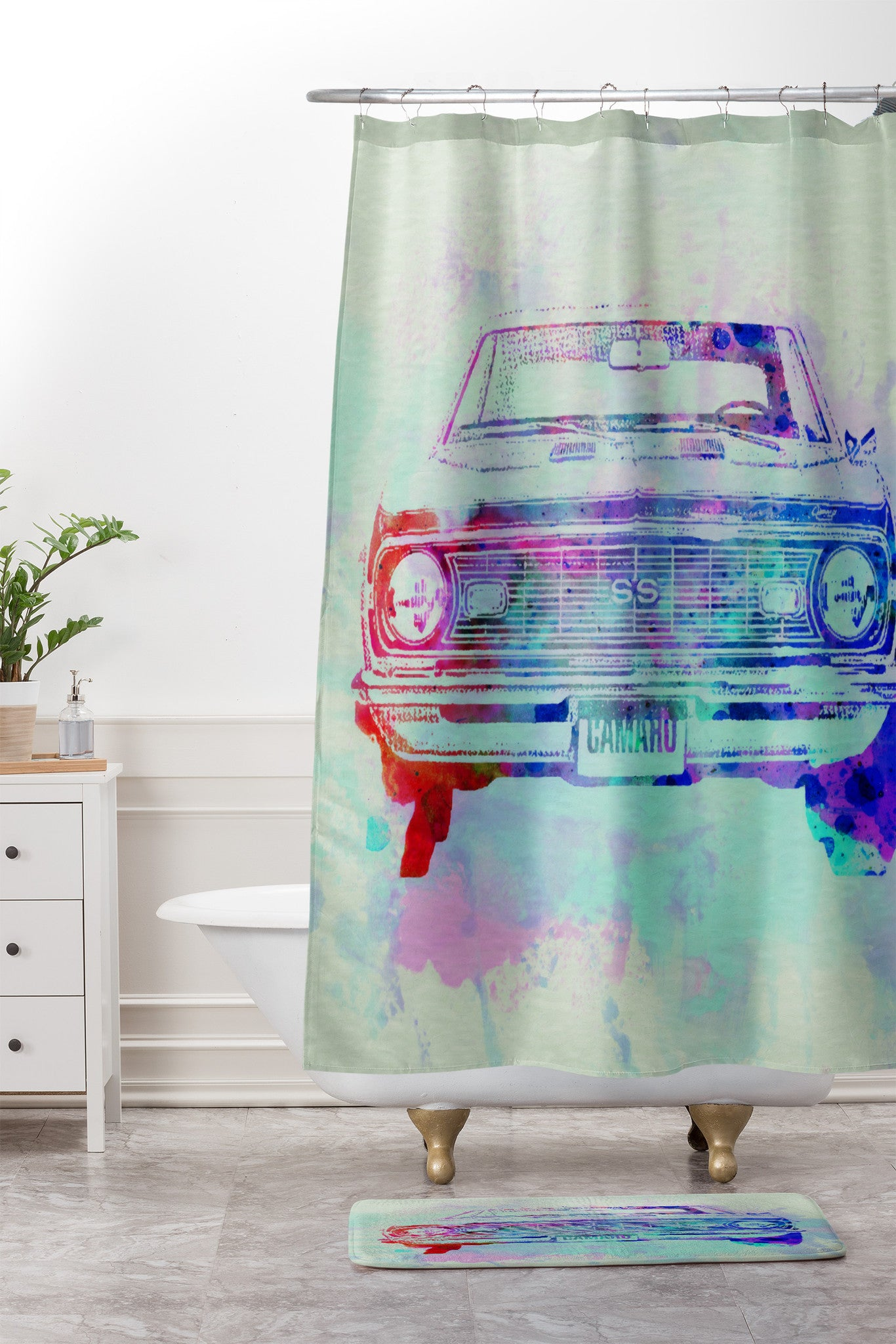 Naxart Chevy Camaro Watercolor 2 Shower Curtain And Mat