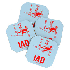 Naxart IAD Washington DC Poster Coaster Set