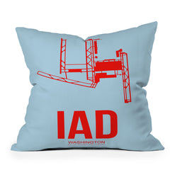 Naxart IAD Washington DC Poster Throw Pillow