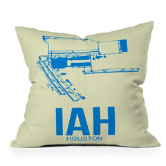 Naxart IAH Houston Poster Throw Pillow