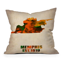 Naxart Memphis Watercolor Map Throw Pillow