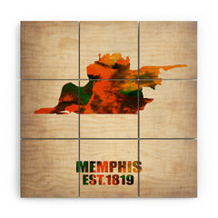 Naxart Memphis Watercolor Map Wood Wall Mural