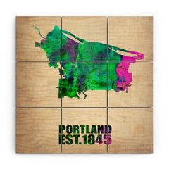 Naxart Portland Watercolor Map Wood Wall Mural
