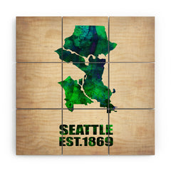 Naxart Seattle Watercolor Map Wood Wall Mural