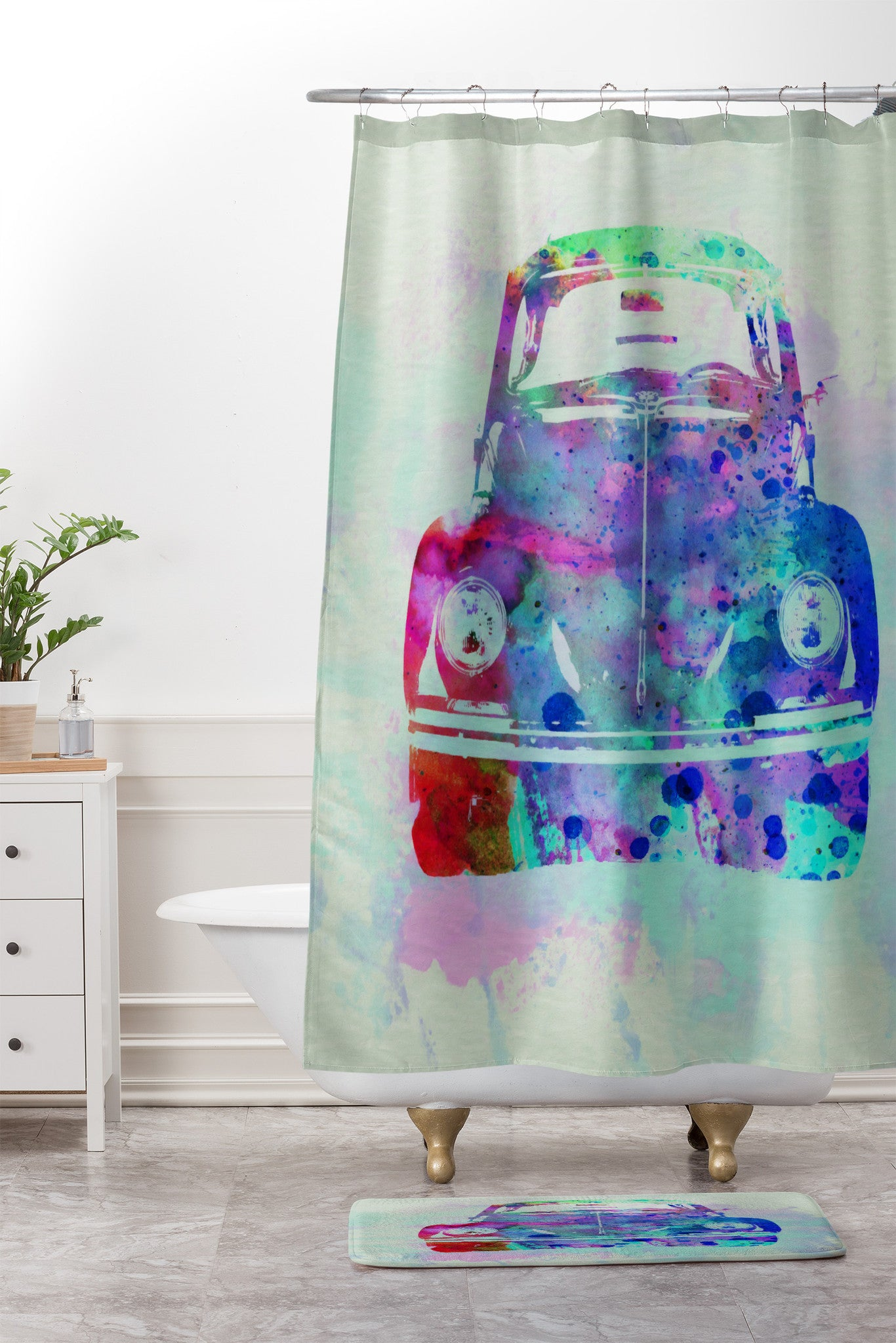 Naxart VW Beetle Watercolor 2 Shower Curtain And Mat