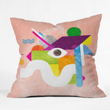 Nick Nelson Space Face Pink Throw Pillow